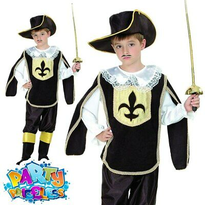 Kids Musketeer Costume Boys French Cavalier Book Week Day Fancy Dress Outfit • 11.49£