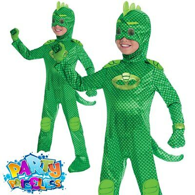 Boys Deluxe PJ Masks Gekko Costume Official UK Superhero Fancy Dress Outfit • 22.99£