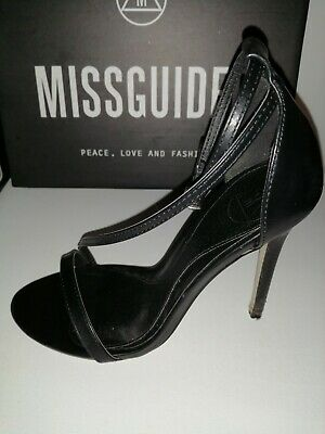 Missguided Black Strappy Heels / Shoes (Size 3)  • 8.49£