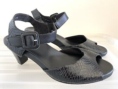 AU55 • Buy ZIERA (Kumfs) Black Leather Snake Heels Sandals Size 40 W (9) #16035