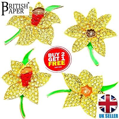 £3.59 • Buy New Daffodil Pins Brooches Artificial Flowers Crystal Badges Jewellery For Women