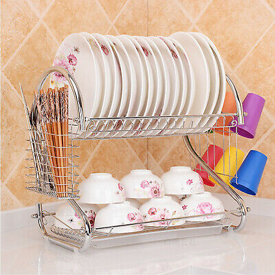 AU21.99 • Buy Dish Rack Drainer Drying Tray Cutlery Holder Utensil Caddy Stainless Steel VIC
