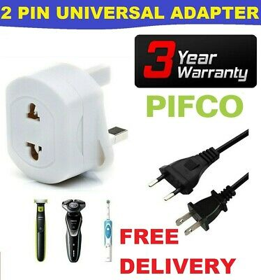 2-Pin To 3-Pin UK Shaver Adapter Plug Socket Converter EU European Euro Europe • 3.49£
