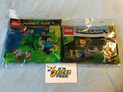 AU21.99 • Buy Lego Minecraft Lot Of 2 Polybags 30393 & 30394 New/Sealed/Hard To Find