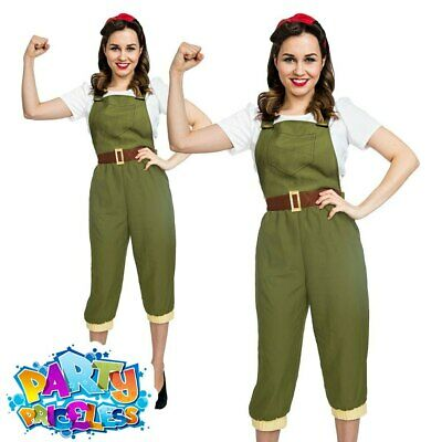 Adult Ladies 1940s Land Girl Costume WW2 Wartime Army Fancy Dress Womens Outfit • 13.99£