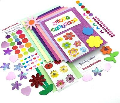 Birthday Card Making Kit, Hand Made Cards, Childrens Craft Kit, Flower Stickers • 4.50£