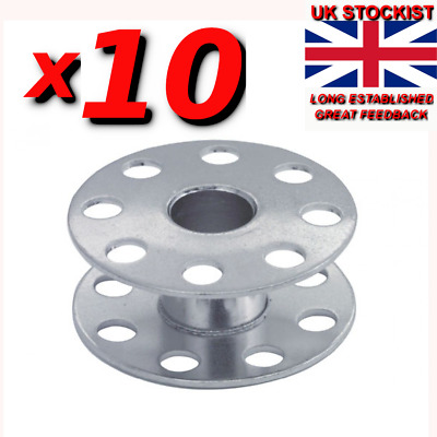 10 X INDUSTRIAL SEWING MACHINE BOBBINS. (WITH HOLES) 95k B ROTHER,JUKI  Sp/47 • 3.99£