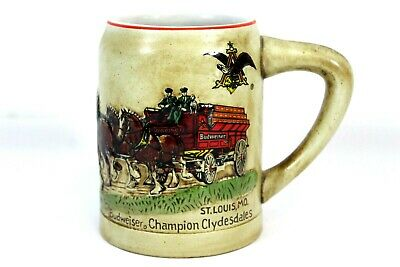 $ CDN129.03 • Buy Budweiser Champion Clydesdales Embossed 1980 Holiday Beer Stein Mug Ceramarte