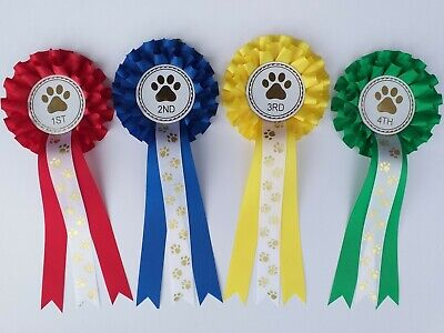 £5.95 • Buy Dog Show Rosettes 1st-4th 2 Tier With FREE Printed Paw Print Tails FREE POSTAGE