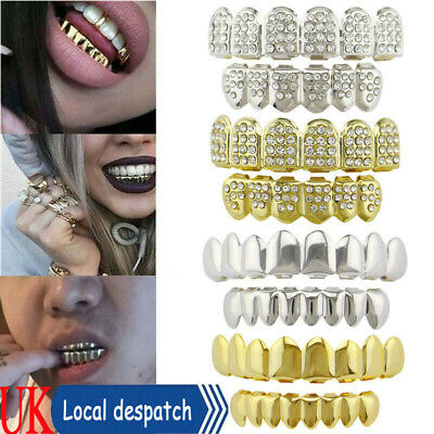 £5.49 • Buy Silver Gold Grillz 24k Plated Diamond Teeth Mouth Grills Bling Hip Hop Cosplay