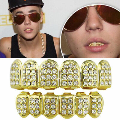 Silver Gold Grillz 24k Plated Diamond Teeth Mouth Grills Bling Hip Hop Cosplay • 5.59£