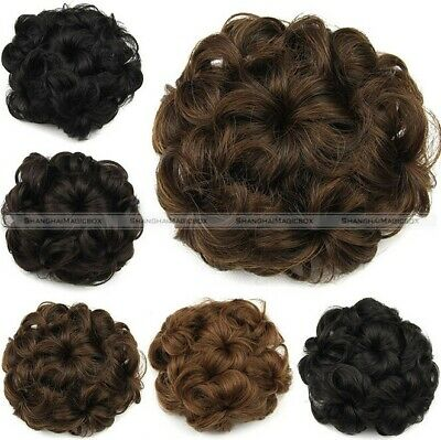 Womens Drawstring Curly Wave Hair Bun Clip In Hair Extension Hairpiece Wig • 7.39£