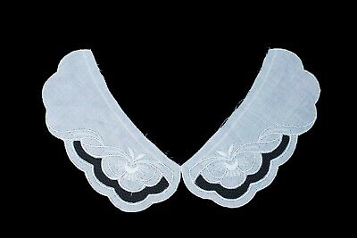 Vintage Baby Peter Pan Lace Collar 27B - White Broderie Anglaise 100% Cotton • 2.45£