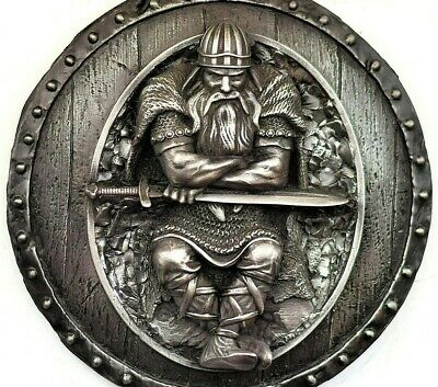 Viking Decor Berserk With A Sword On The Shield Wall Sculpture Rustic Home Decor • 55£