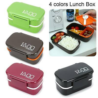 Lunch Box Bento Stacking Compartments Food Container Leakproof With Fork Spoon • 6.29£