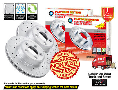 AU288 • Buy FOR NISSAN X-Trail T30 2000-2007 FRONT REAR Slotted Drilled Disc Brake Rotor (4)