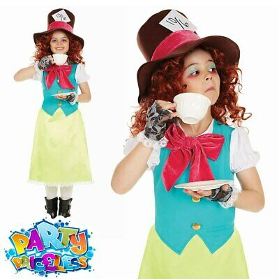 £9.99 • Buy Kids Mad Hatter Costume Girls Fancy Dress Alice World Book Day Week Outfit