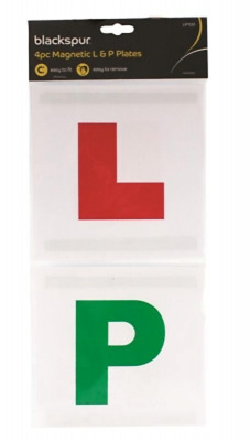 Driving Lessons L & P Learner Plates Magnetic Learn & Pass Pack Of 4 • 2.25£