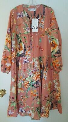 $49.99 • Buy Zara Floral Salmon Cotton Tiered Long Sleeve Knee Length Dress Loose Fitting XS