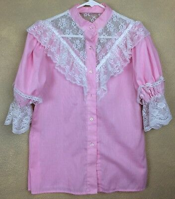 $29.99 • Buy SQUARE DANCE BLOUSE PINK & WHITE LACE Alterations On Side Seams
