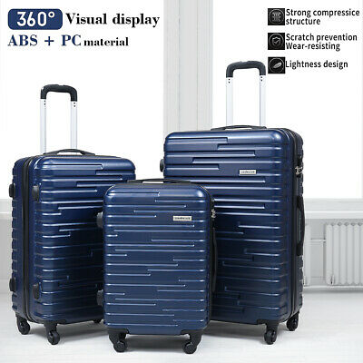 View Details 3 Piece Luggage Set Trolley Travel Suitcase ABS+PC Hardside Nested Spinner Blue • 96.99$