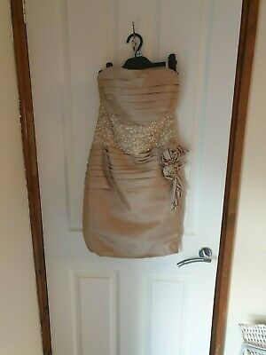 Gold Fitted Strapless Dress   Wedding Guest, Prom  Pagent Size 8 • 25£