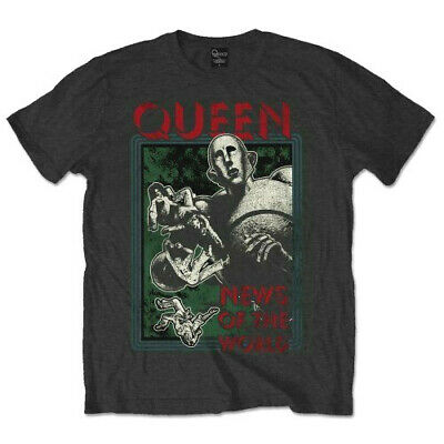 £13.94 • Buy Official Queen T Shirt News Of The World Black Classic Rock Band Merch Freddie