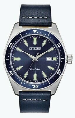 $90.99 • Buy Citizen Eco-Drive Men's Brycen Blue Dial Leather Strap 43mm Watch AW1591-01L
