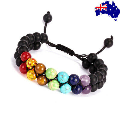 AU9.99 • Buy Chakra Bracelet Healing Natural Lava Stone Yoga 7 Bead Oil Diffuser Men Women
