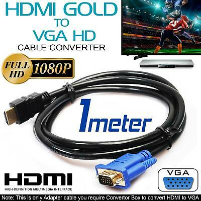 1m HDMI To VGA Cable HD-15 D-SUB Video Adapter Cable For PC Monitor Game HDTV UK • 3.99£