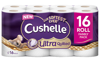 £13.68 • Buy Cushelle Toilet Rolls Ulta Quilted 3 Ply 16 Rolls Of 157 Sheets