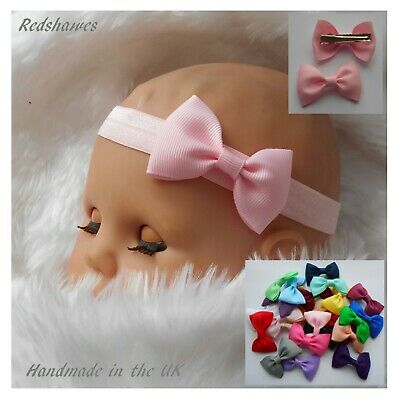 Baby Headband OR Hair Clips 5cm Bow Soft Elastic Party School Handmade In UK • 2.30£