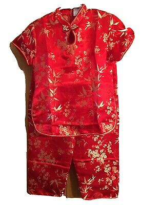£16.58 • Buy Chinese Boys 2 Piece Tang Suit Red Gold Brocade Size 9 Silk Poly