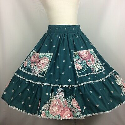 $22 • Buy Square Dance Skirt Teal With Pink FlowersPockets And Lace Trim VTG (defects)