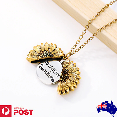 AU8.99 • Buy Sunflower Sunshine Going Open Locket Pendant 18K Gold Silver Women Girl Necklace