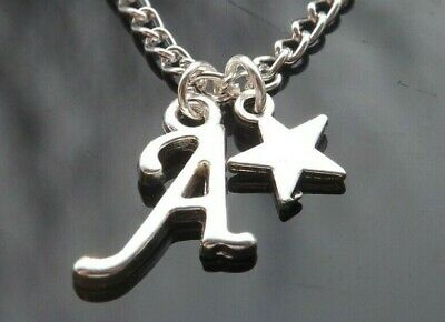 £2 • Buy 16-30 Inch Long Silver Plated Necklace With Star Pendant & Initial Letter