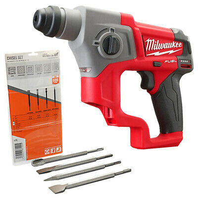Milwaukee M12CH 12V Fuel SDS+ Rotary Hammer Drill With 4 Piece SDS Chisel Set • 174.50£