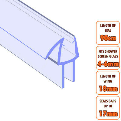 ECOSPA Bath Shower Screen Door Seal Strip • For 4-6mm Glass • Seals Gaps To 17mm • 5.49£