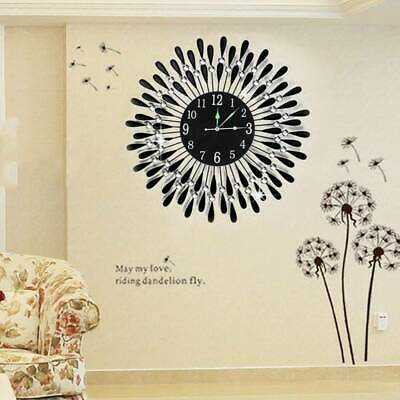AU45.99 • Buy Large Modern 3D Crystal Wall Clock Luxury Black Glass Round Dial Home Office