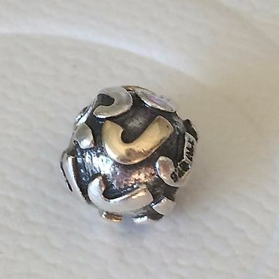 AU125 • Buy Authentic Pandora Letter J Initial Charm - Two Tone Silver And 14K Gold - 790298