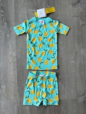$19.99 • Buy New Girls Hanna Andersson PJs Blue Two-piece Short Sleeves Lemons US 3T