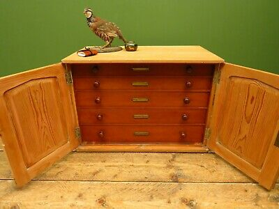 Antique Pine Bank Of Drawers Plan Chest Collectors Cabinet, Lockable Cabinet • 425£