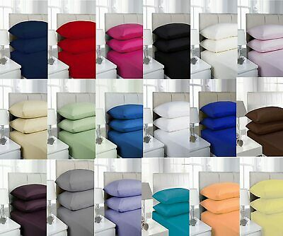 Full Fitted Sheet Bed Sheets 100% Poly Cotton Single Double King Super King Size • 3.99£