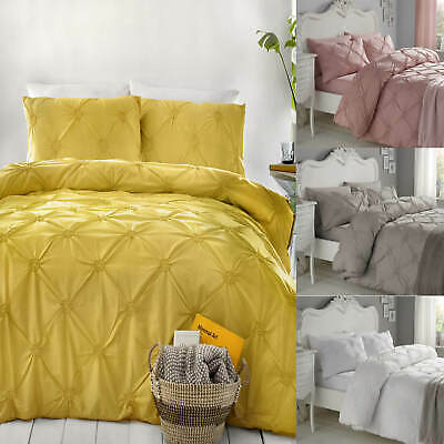Classic Appletree Elissa Cotton Ruched French Style Duvet Cover & Pillowcase Set • 38.95£