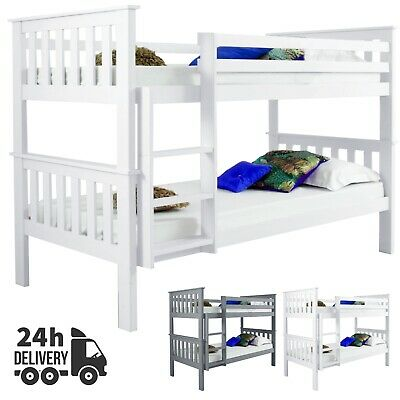 Double Bed Bunk Beds Stairs For Kids Children Wooden Single Bed Frame Sleeper • 209.99£