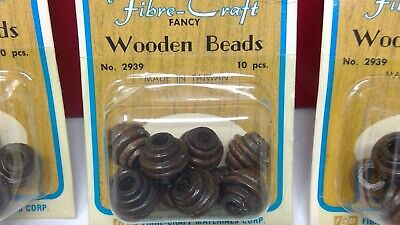 $4.99 • Buy NOS 4 Packages Of Fibre-Craft Wooden Beads - No 2939 (one Opened W/8) - 10/Box