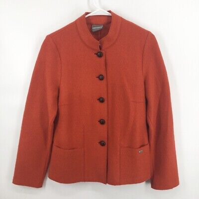$44.99 • Buy Geiger Womens Jacket Orange Button Front Boiled Wool Austria 40