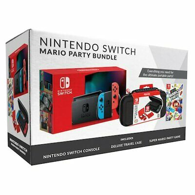 $459.99 • Buy 2019 New Nintendo Switch Red/Blue Console Bundle With Mario Party & Travel Case