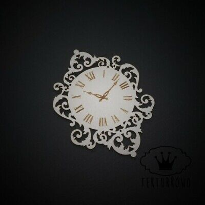 2x Vintage Clock Chipboard Die Cut-out Wooden Craft Shapes Card Topper Shapes • 2.30£