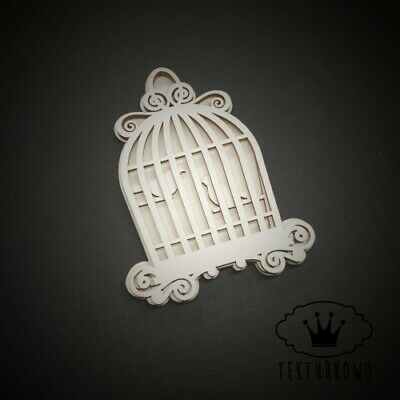 2x Vintage Bird Cage Chipboard Die Cut-out Wooden Craft Shapes Card Topper Shape • 2.60£